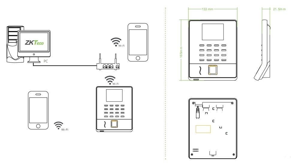 sơ đồ kết nối và kích thước của ZKteco WL20 WIFI